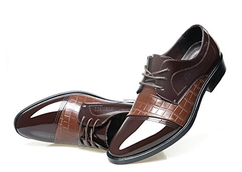 HYLM I pattini casuali di affari del merletto di cucono appuntano scarpe nuziali / Oxford Brown