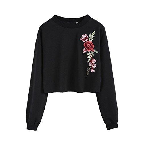 Damen T-Shirts Sonnena Sweatshirt Langarm Sommer Herbst Rose Applikationen O-Ausschnitt Hemd Sports Pullover Oberteile Tops (Asian L, Schwarz) (Hipster Rosen)