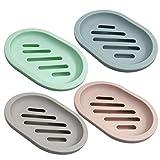 Senhai - Jabonera para Ducha (4 Unidades, con Drenaje para encimera de baño, Ducha, Cocina, Mantener el jabón seco y Limpio, 4 Colores)