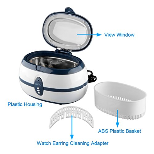 600mL Ultrasonic Cleaner Ultra Sonic Bath with Cleaning Basket and Watch Stand - Stainless Steel Tank & Digital Timer - for Jewellery Jewelry Glasses Watch Metal Coins Dentures