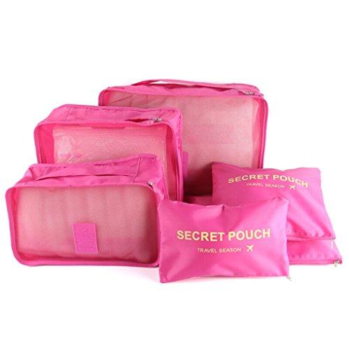 6 Set Packtaschen Kofferorganizer Reisetasche Beutel Kleidertasche Kulturtasche Schuhtasche Koffer Organizer Aufbewahrungstasche aus Nylon HIMMELBLAU Rosa