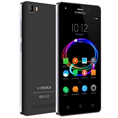 """Cellulari Offerte Dual SIM 4G VMOBILE @10 (Display 5,0"""" HD 1280 * 720 2800mAh 1GB+8GB Fotocamera 5MP Android 7,0 Quad Core Cellulari Economici WiFi/GPS/FM Radio Smartphone Economici in Offerta (Nero)"""