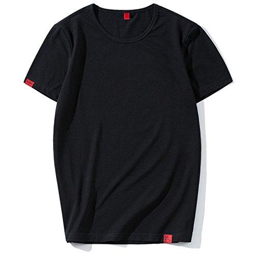 SYF Männer Japanische Mode Marke T-Shirt Einfachen Brief Hong Kong Stil Trend Männer Persönlichkeit Sets von kurzärmeligen Kleidung,Schwarz,XXXL