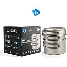Set de 3 piezas de Utensilios de cocina de camping de titanio (1.2L,