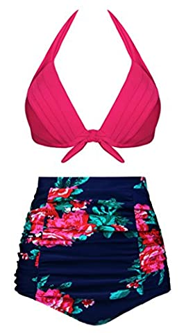 Angerella Vintage High Waisted Bikini Swimsuits Floral Print Two Pieces