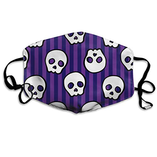 Halloween Cute Skull and Crossbones On Purple Stripe Background Dust Mask Anti Dust Pollution Mask Washable Polyester Mouth Mask with Adjustable Straps -