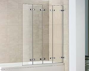 4 panel semi frameless folding bath screen for Folding shower for small bathrooms