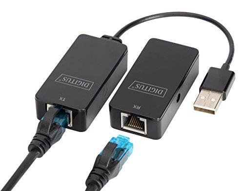 DIGITUS USB-Extender - Reichweite 50 m - USB 2.0 - UTP, STP & S-FTP Netzwerk-Kabel ab Cat-5 - Plug & Play - Schwarz - Daten-karte, Drucker Zubehör
