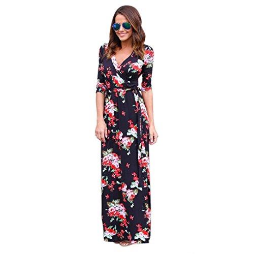 MRULIC Frauen V-Ausschnitt Boho Lange Maxi Abend Party Strandkleid Floral Sommerkleid(Schwarz,EU-40/CN-S)