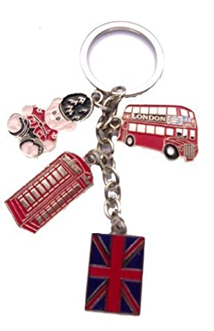 J'adore Londres : Nope London Bus, téléphone, ours en peluche et Union Jack Keyring - j'aime Londres Keychain - porte-clés Souvenir de Londres