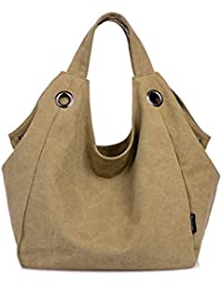 Khaki : Good Bag Women's Canvas Tote Bag Oversized Lined Vintage Style Purse Shopper Shoulder Handbag