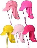 Vaenait baby Maedchen Schwimmkappe Swim hat UV Flap Cap Hot Pink L