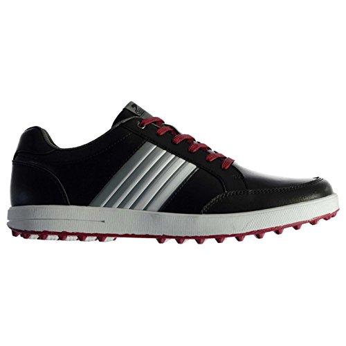 Slazenger Casual Herren Golfschuhe Ohne Soft Spikes Schuhe Streifen Detail Schwarz 10.5(44.5) -
