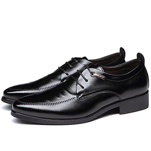 Schuhe Leder Black Formal Männer Business Kleid Grrong Schwarz qEZFHRW
