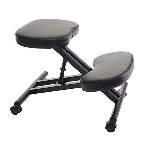 Kniestuhl HWC-E10, Sitzhocker Kniehocker Bürostuhl Bürohocker, höhenverstellbar mit Rollen Kunstleder Metall schwarz