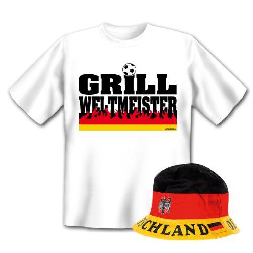 Geniales Outfit für Sport Freunde - Grill Weltmeister T-Shirt + Mütze