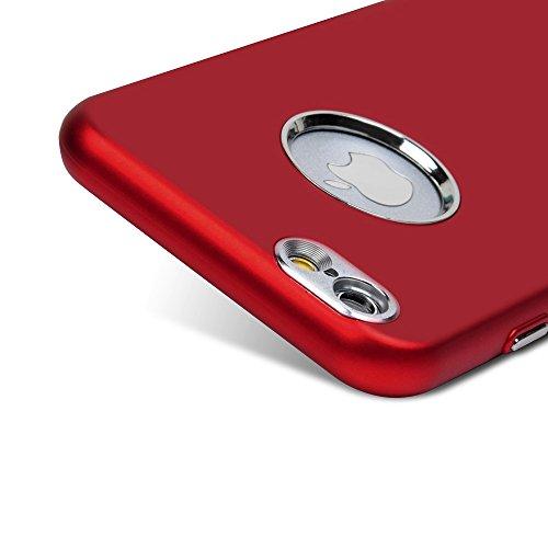 MAXFE.CO Schutzhülle Tasche Case für iPhone 6 Plus/6S Plus TPU Silikon Cover Galvanik Design Einfarbig Etui Protective Schale Bumper Schwarz Rot
