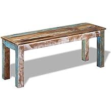vidaXL Banco madera maciza reciclada 110x35x45 cm