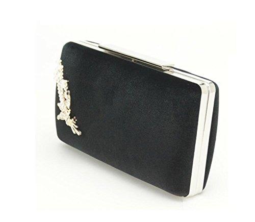 GSHGA Womens Clutch Bags Samt Handtasche Hardware Dekoration Beutel Lange Bar Schalter Dinner Tasche Strass Mit Perlen,Black Black