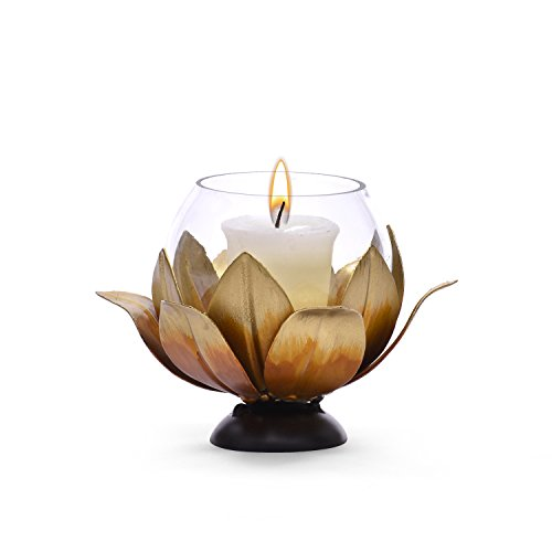 Collectible India Metal Glass Tealight Candle Holder Brass Diya Lamp