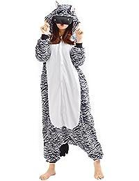 YARBAR Kigurumi Pijamas Unisexo Adulto Traje Disfraz de Halloween Animal Pyjamas cebra