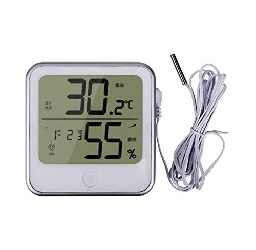 RUIX Thermo-Hygrometer Wecker-Hygrometerbüro des Hauptinnenraumes Elektronischer LCD-Thermometer