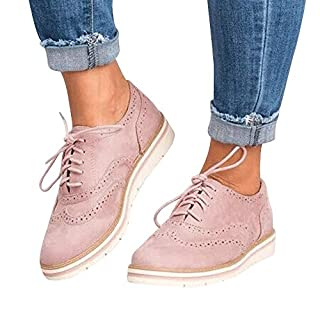 samLIKE Women Vintage Shoes,Ladies Girls Casual Suede Round Toe Ankle Flat Party Sport Shoes,Size 4-9 (6 UK, Pink)