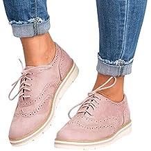 Zapatos con Cordones, Botas de Mujer, Punta Redonda de Color Sólido,