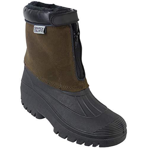 Savage Island Fleece Lined Quick Zip Thermal Snow Rain Waterproof Boots