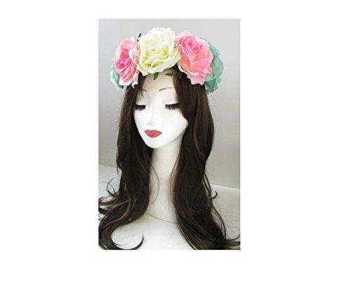 Grande fleur rose Ivoire Bleu Rose Bandeau Bandeau Big Guirlande Festival 67 * * * * * * * * exclusivement vendu par – Beauté * * * * * * * *