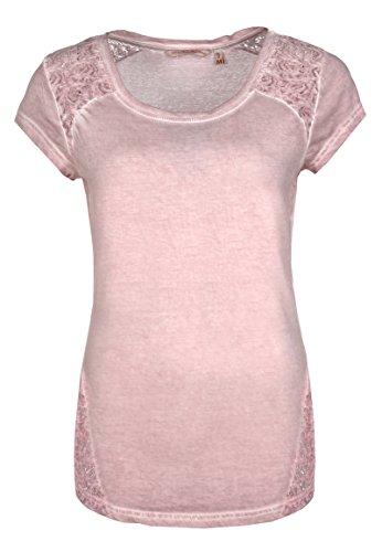 Fresh Made Damen Shirt mit Spitze einfarbig | Frauen T-Shirt Uni mit Spitzeneinsatz und Rundhals-Ausschnitt Light-rose1 XS