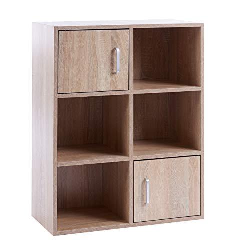 ts-ideen Standregal Bücherregal Sideboard Buchregal Holz Eiche Sonoma Modern mit Türen - Eiche Holz Türen