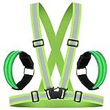 HEAWAA Premium Reflektierende Warnweste Sichtbarkeit Reflektierend Verstellbar Weste Sicherheit Hoher Reflektorbänder Gürtel Fahrrad REIT Reflektierende Weste Mit 2 Reflex socken für Outdoor (Grün)