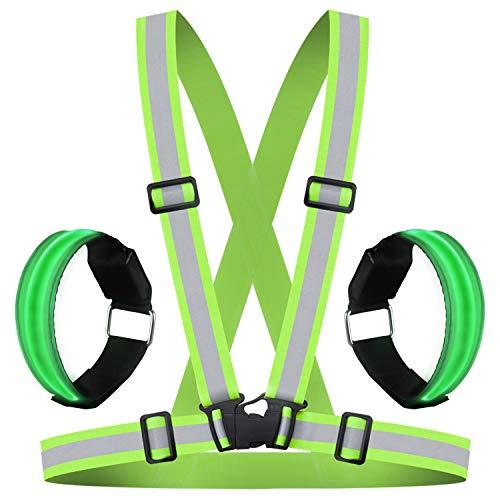 HEAWAA Premium Reflektierende Warnweste Sichtbarkeit Reflektierend Verstellbar Weste Sicherheit Hoher Reflektorbänder Gürtel Fahrrad REIT Reflektierende Weste Mit 2 Reflex Armband für Outdoor (Grün)