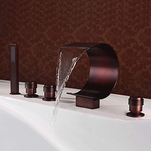 Serie Roman Tub Set (BILLY'S HOME Badewanne Wasserfall Roman Tub Armaturen, weit verbreitet Badezimmer Badewanne Wasserhahn Badewanne Füllstoff mit HandbrauseÖl berieben Bronze Deckmontage)