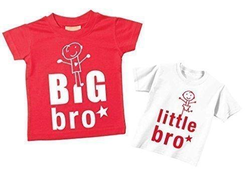 Big Bro Kleiner Bro T-shirt Set Bruder T-Shirt Brüder Baby Kleinkind Kinder blau oder rot verfügbar in den Größen 0-6 Monate bis 14-15 Jahre Neu Baby Schwester Geschenk – Rot, Klein 50-68, Groß 98-104