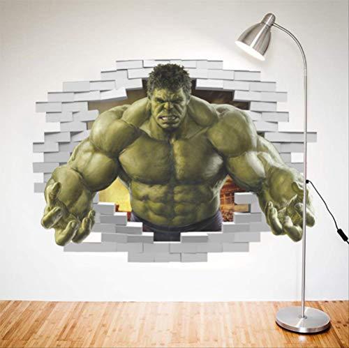 Hzcl vendicatori comici di supereroi 3d l'incredibile hulk adesivi murali, camera da letto soggiorno adesivi da parete removibili/stickers murali/decorazione murale 50x70cm