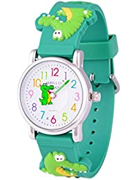 Wolfteeth Jóvenes Niños Pequeños Niños Niños Enfriar Reloj Reloj Maestro, Personaje De Dibujos Animados 3D Cocodrilo Verde Banda De Reloj 303608