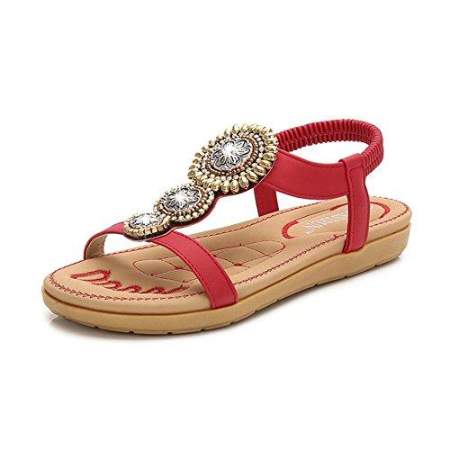 Sandali etnici della boemia delle donne dei sandali della spiaggia di punta dei sandali della punta della clip etnica rotonda del fiore delle donne (colore : rosso, dimensione : 40 eu)
