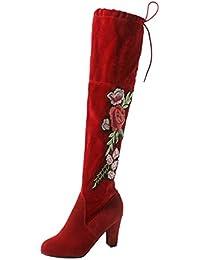 Botines Larga de Rebaño Bordado Rosa, Holacha Botas de Tacón Alto sobre la Rodilla Moda Otoño Invierno para mujeres