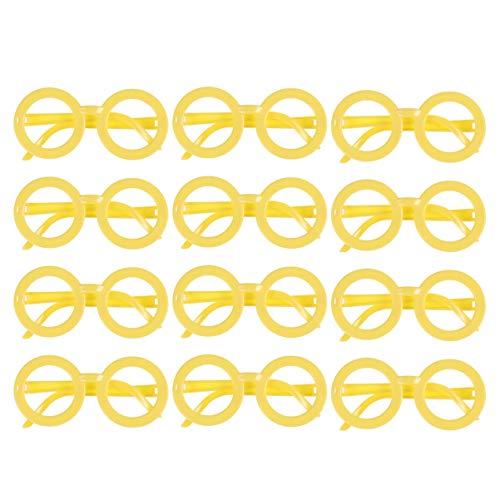 Amosfun 12 stücke Kinder runde brillengestell ohne objektiv Candy Farbe gläser für Geburtstag Halloween kostüm Partei liefert (gelb) (Nerd Candy Kostüm)