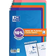 Oxford 400091366 – Pack of 5 Notebooks fº, 80 Sheets, Hardcover, 4 mm