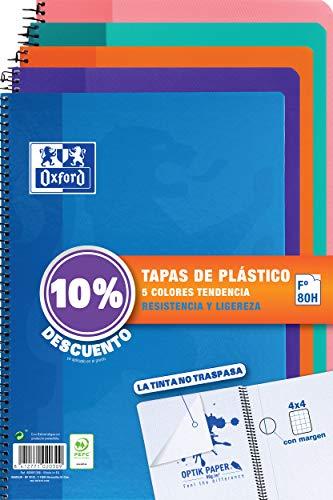 Oxford - Pack de 5 cuadernos (tapa plástico, 80 hojas, cuadrícula 4x4 con...