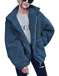 ECOWISH Damen Mantel Revers Faux Für Lose Langarm Outwear Tasche Reißverschluss Winterjacke Mode Kurz Coat