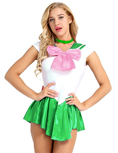 MSemis Mädchen Damen Sailor Kleid Minikleid mit Choker Satin Kette Minirock Crystal-Kostüm Matrosen Schulmädchen Uniform Halloween Karneval Cosplay Grün Medium (Sailor Mini Moon Kostüm)