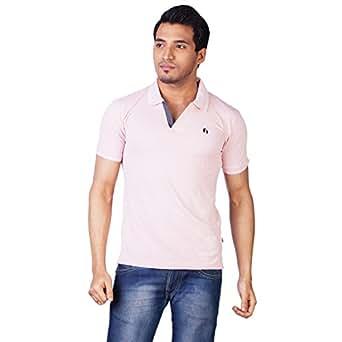 Hegen Men's Peach Colored Polo V-Neck T-Shirt