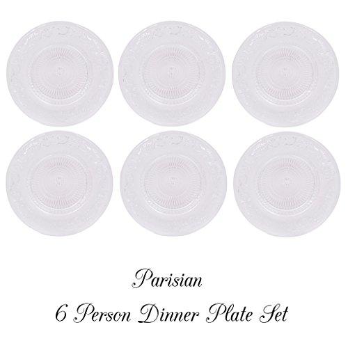 parisien Français Assiette en verre. Joli design Idéal pour famille dîners. 25 cm de profondeur, Verre, SET OF 8