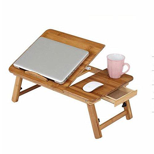 XIAOLIN Portable Bambus Faltbare Laptop Schreibtisch Notebook Höhenverstellbarer Tray Tisch Bett Tisch Mit Schublade ( größe : L50W30 )