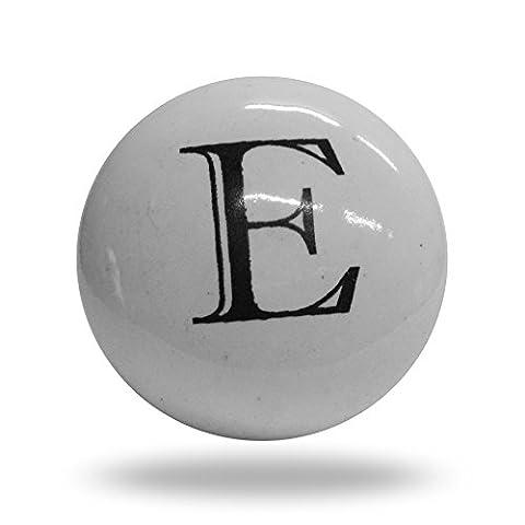Ceramic Letter E Cupboard Cabinet Alphabet Door knob Drawer Pull & Handle