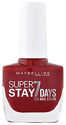 Maybelline New York Super Stay 7Days Gel Nail Polish Cherry Finish Nail Polish Forever Strong Make-Up Sin/Coloured Nail Polish Ultra Strong Hold Without Uv Lamp in Bright Red, 1x 10ml